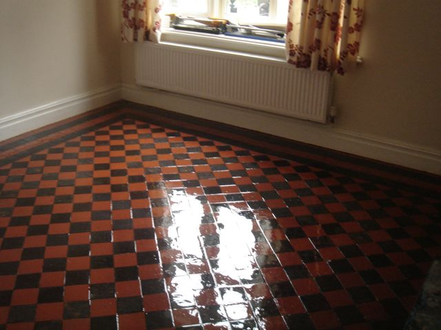 Tiled floor seal and shine